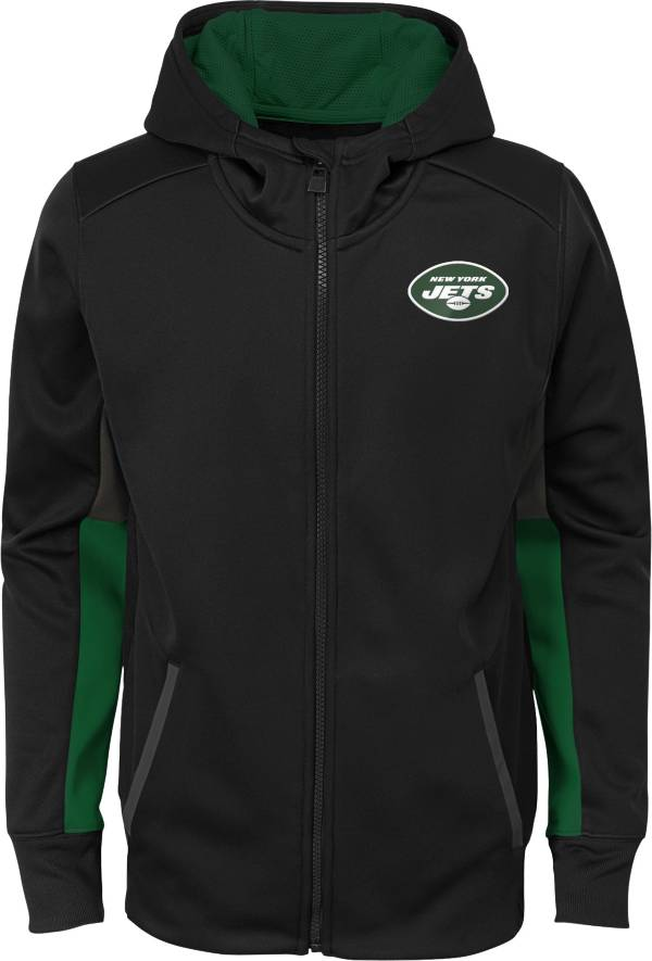 NFL Team Apparel Youth New York Jets Performance Black Full-Zip Hoodie product image
