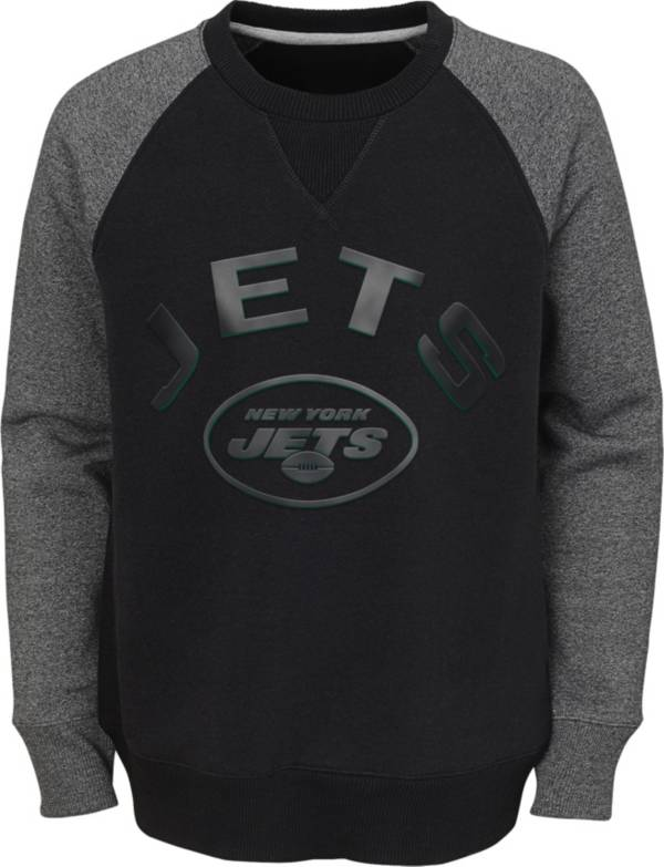 NFL Team Apparel Youth New York Jets Raglan Fleece Black Crew product image