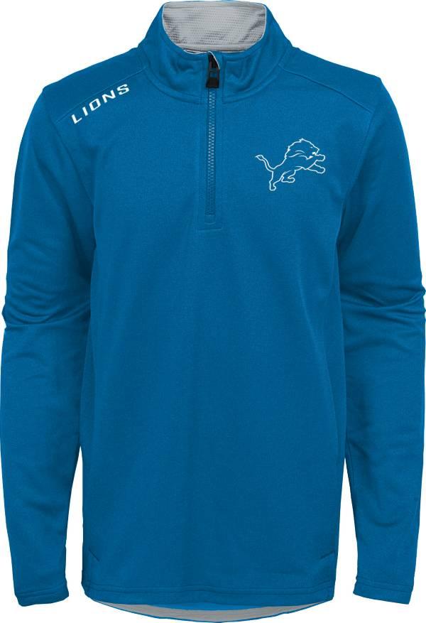 NFL Team Apparel Youth Detroit Lions Unlock Blue Quarter-Zip Pullover product image