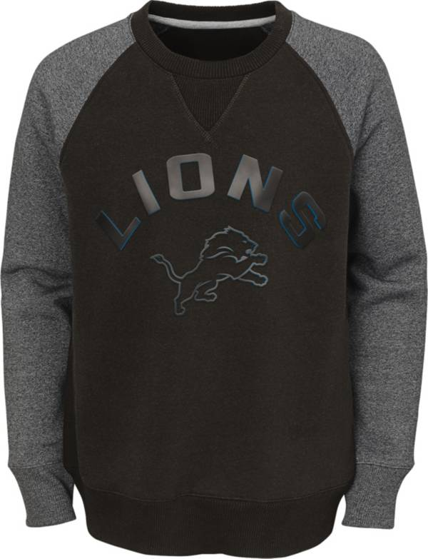 NFL Team Apparel Youth Detroit Lions Raglan Fleece Navy Crew product image