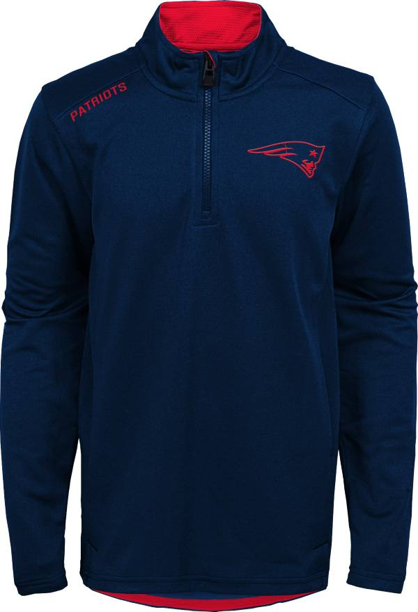 NFL Team Apparel Youth New England Patriots Unlock Navy Quarter-Zip Pullover product image