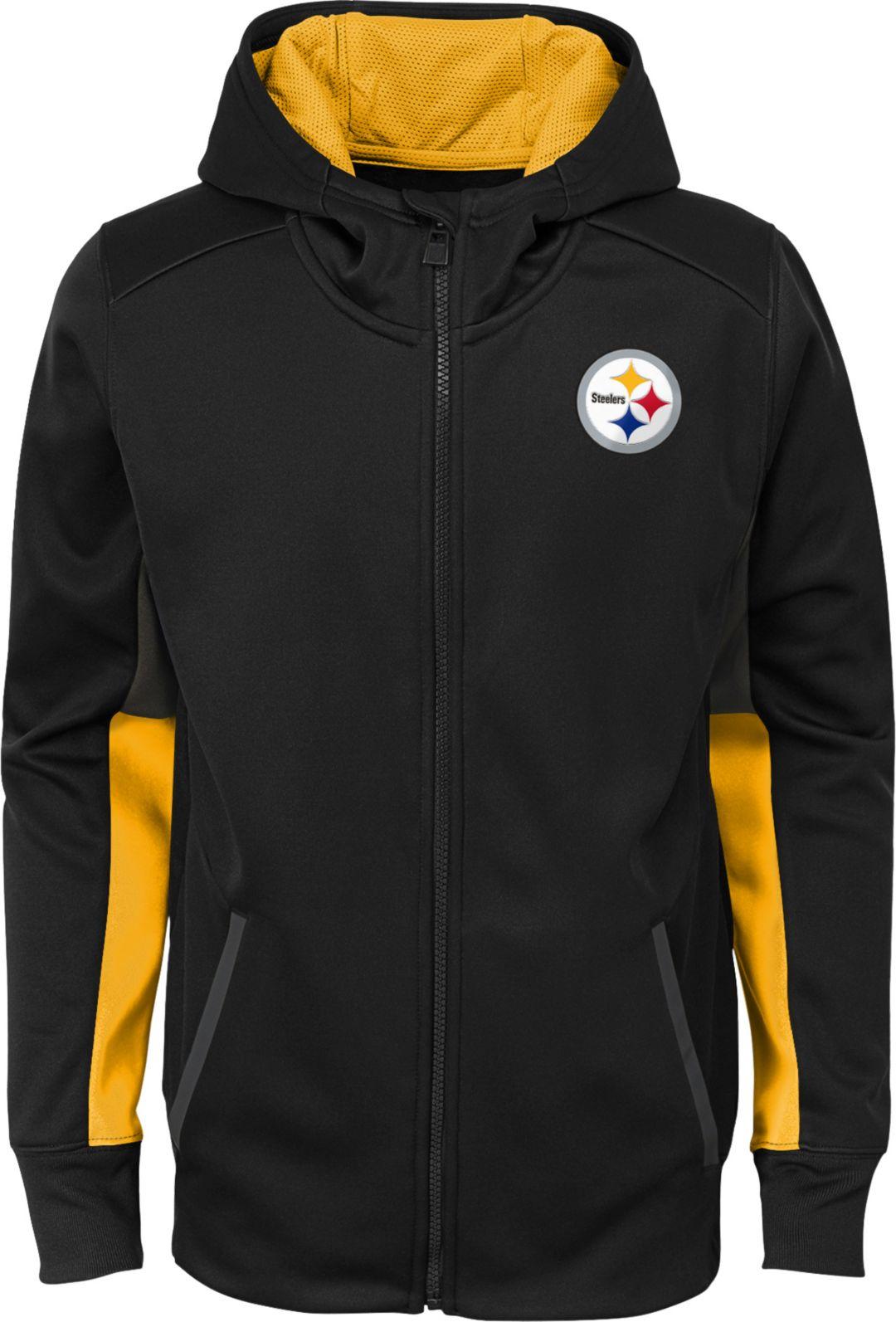 best sneakers 9401d 45d3a NFL Team Apparel Youth Pittsburgh Steelers Performance Black Full-Zip Hoodie