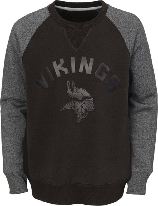 NFL Team Apparel Youth Minnesota Vikings Raglan Fleece Purple Crew product image