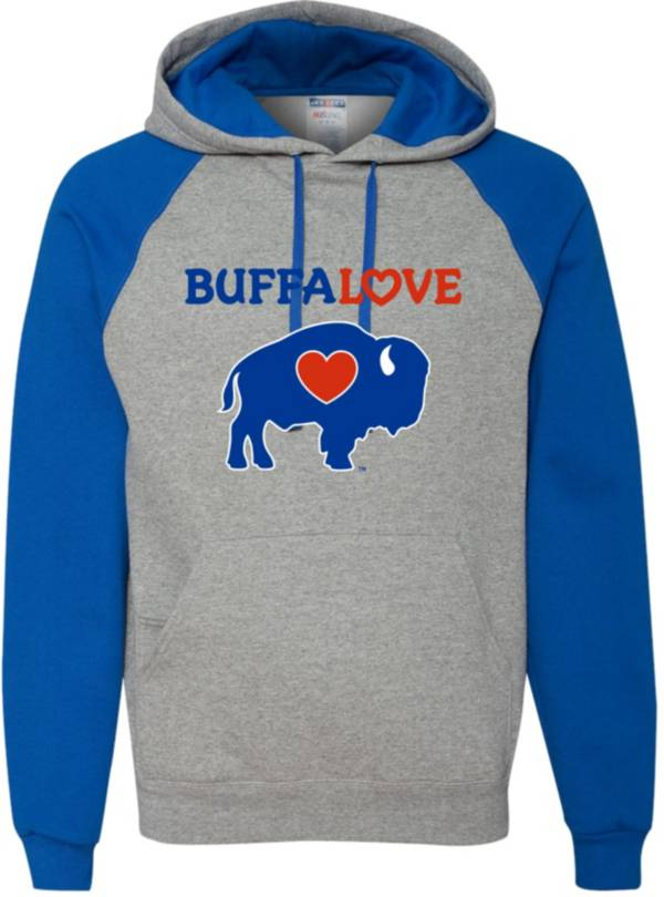 BuffaLove Men's Grey/Royal Raglan Pullover Hoodie product image