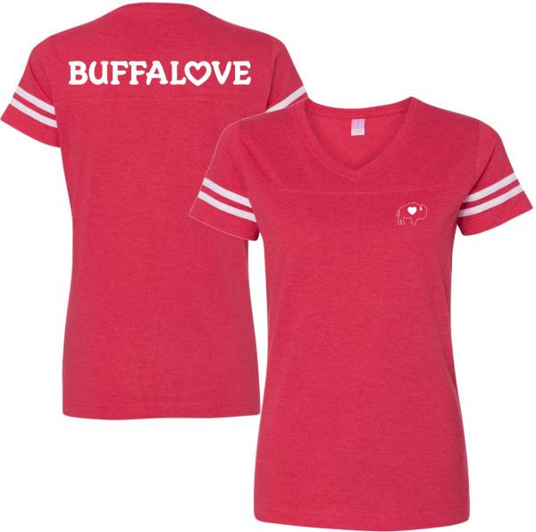 BuffaLove Women's Jersey Red V-Neck T-Shirt product image