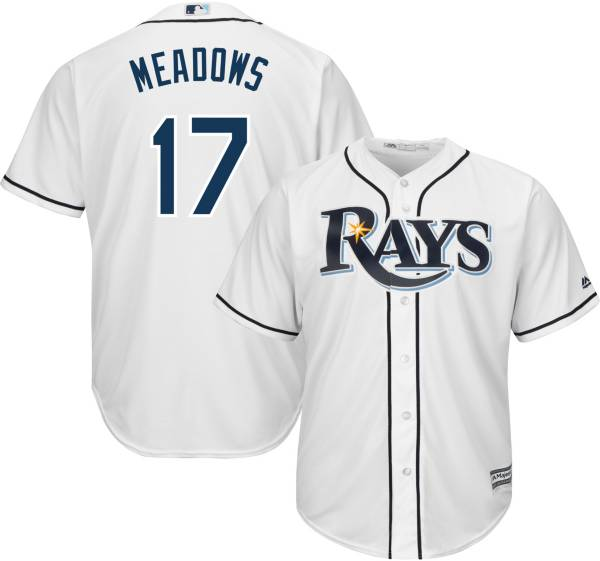 Majestic Youth Replica Tampa Bay Rays Austin Meadows #17 Cool Base Home White Jersey product image