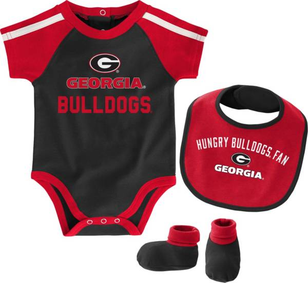 Gen2 Infant Georgia Bulldogs Tackle 3-Piece Onesie Black Set product image