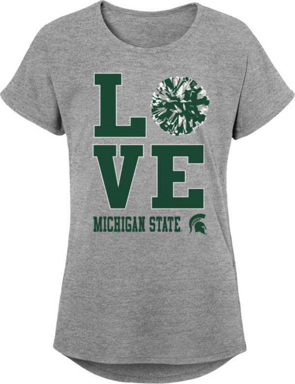 Gen2 Youth Girls' Michigan State Spartans Grey Pom Pom Love T-Shirt product image