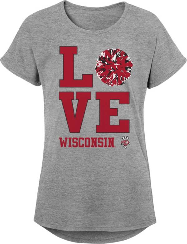 Gen2 Youth Girls' Wisconsin Badgers Grey Pom Pom Love T-Shirt product image