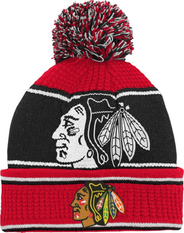 NHL Youth Chicago Blackhawks Grind Cuff Pom Knit Beanie product image