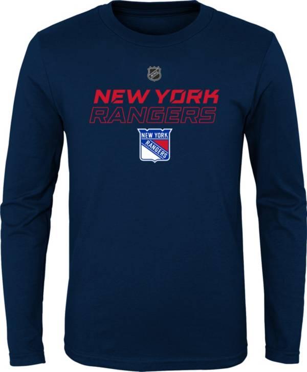 NHL Youth New York Rangers Prime Stock Navy Long Sleeve Shirt product image