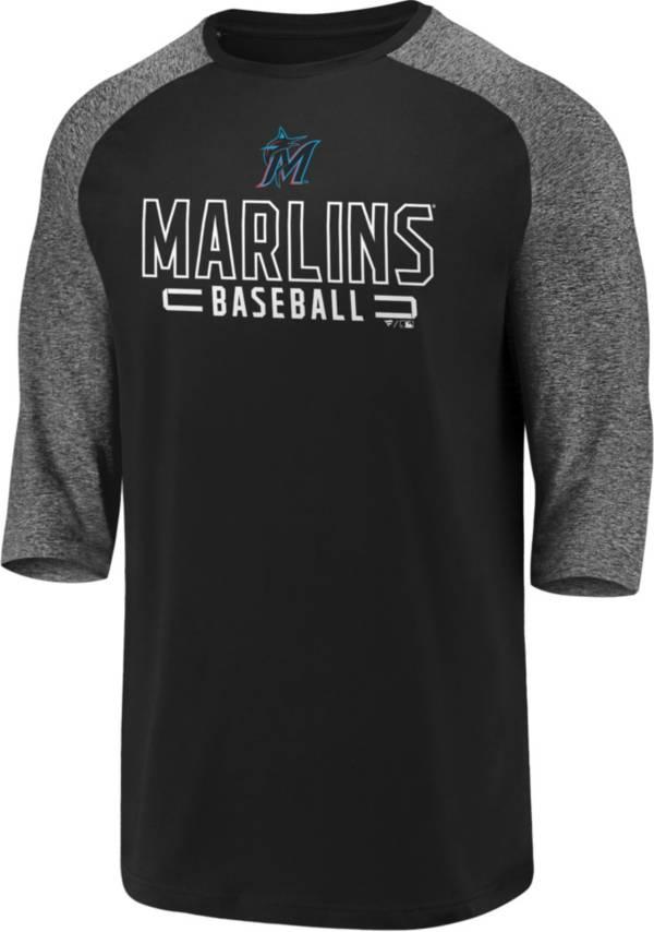 Fanatics Men's Miami Marlins Black Marble Three-Quarter Sleeve Shirt product image