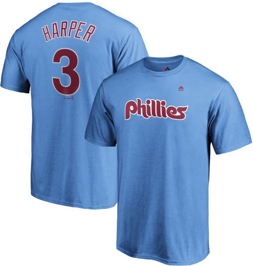 43e209b86 Majestic Men s Philadelphia Phillies Bryce Harper  3 Light Blue T-Shirt.  noImageFound. Previous