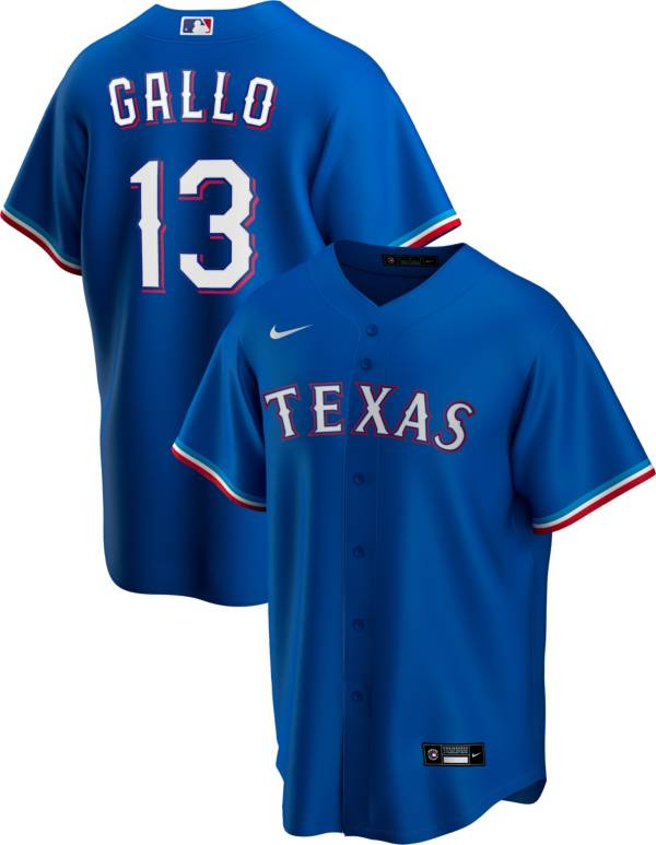 Nike Men's Replica Texas Rangers Joey Gallo #13 Royal Cool Base Jersey product image