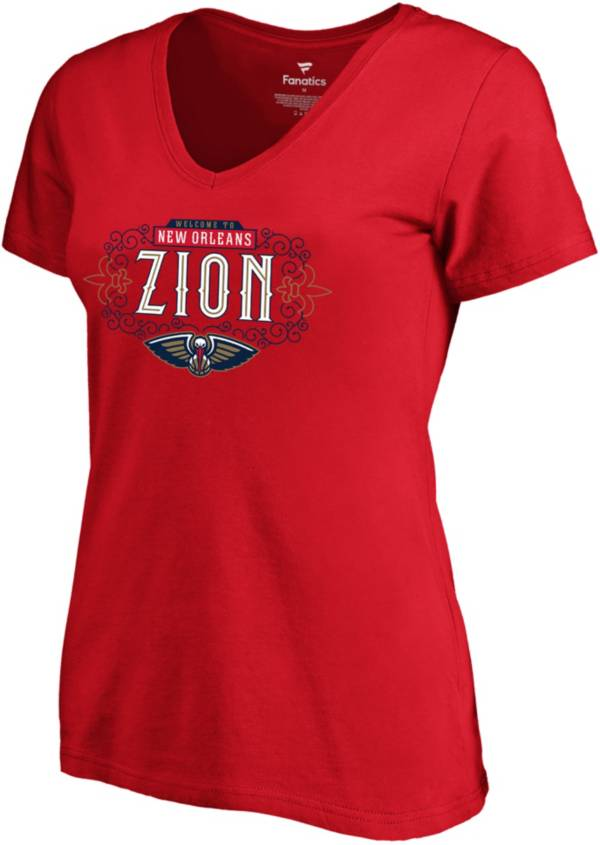 """NBA Women's New Orleans Pelicans Zion Williamson """"Zion"""" Red V-Neck T-Shirt product image"""