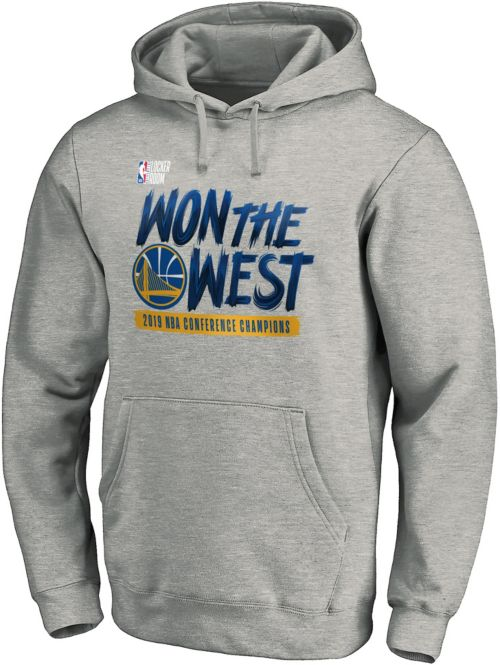293a01c6 NBA Men's 2019 Western Conference Champions Golden State Warriors Grey  Locker Room Pullover Hoodie. noImageFound. Previous