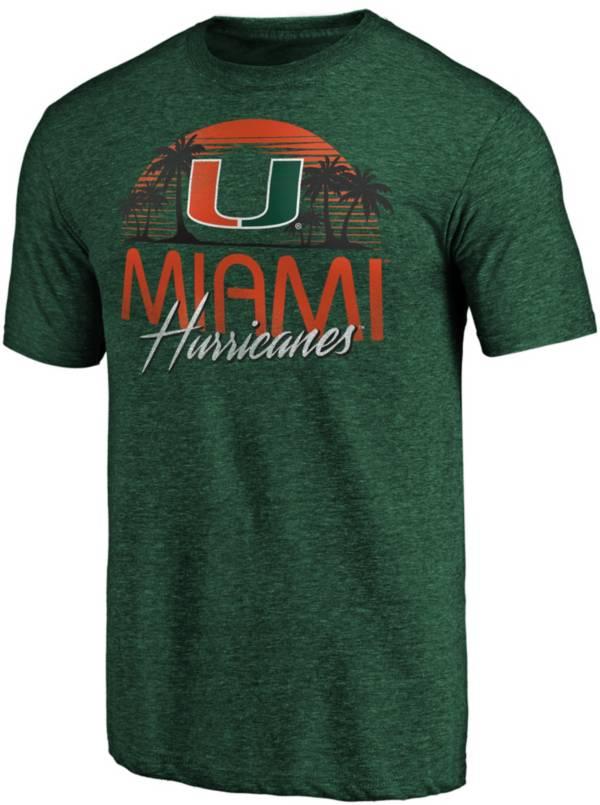 NCAA Men's Miami Hurricanes Green Sunset T-Shirt product image