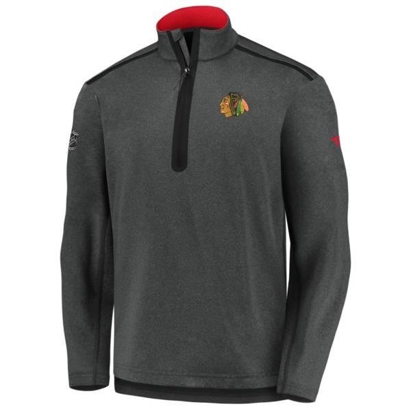 NHL Men's Chicago Blackhawks Authentic Pro Gray Quarter-Zip Pullover product image