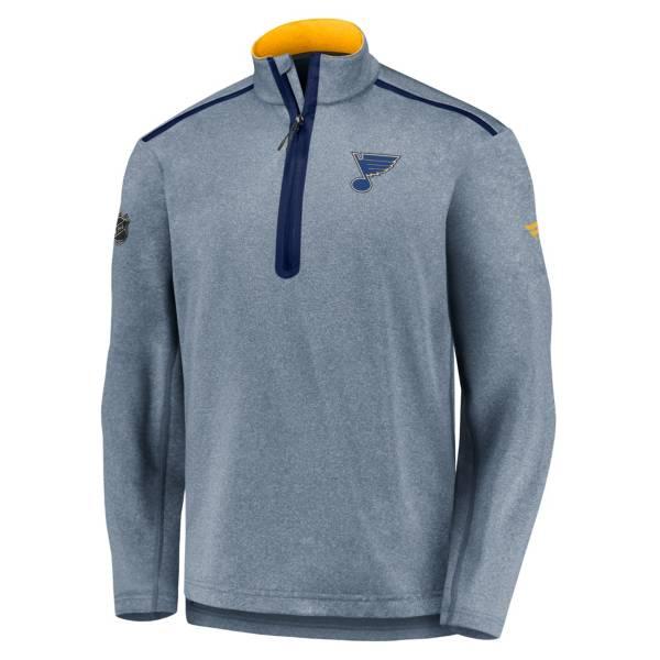 NHL Men's St. Louis Blues Authentic Pro Navy Quarter-Zip Pullover product image
