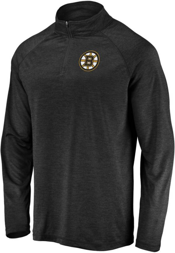 NHL Men's Boston Bruins Logo Black Heathered Quarter-Zip Pullover product image