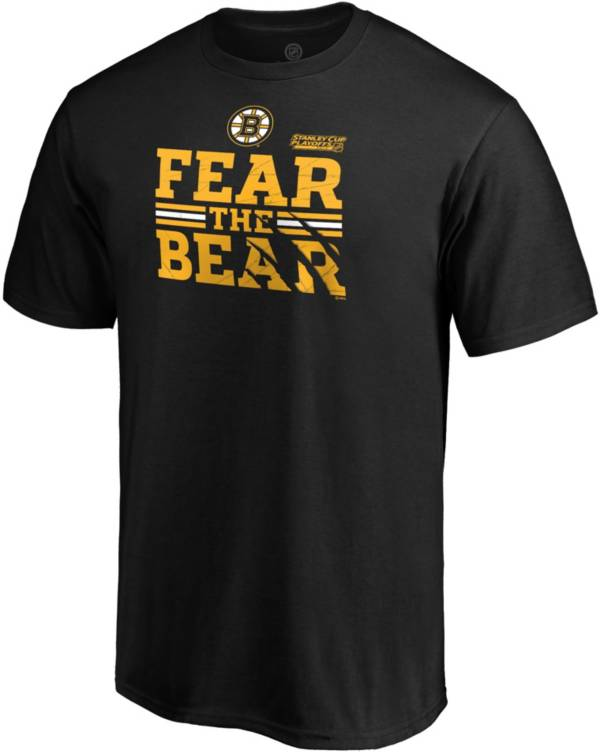 NHL Men's Boston Bruins 2019 NHL Stanley Cup Playoffs 'Fear The Bear' Black T-Shirt product image