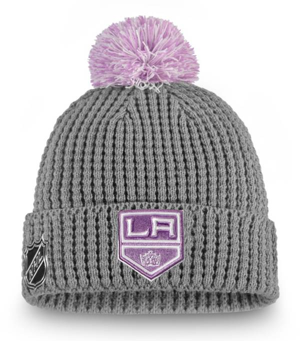 NHL Women's Los Angeles Kings Hockey Fights Cancer Pom Knit Beanie product image