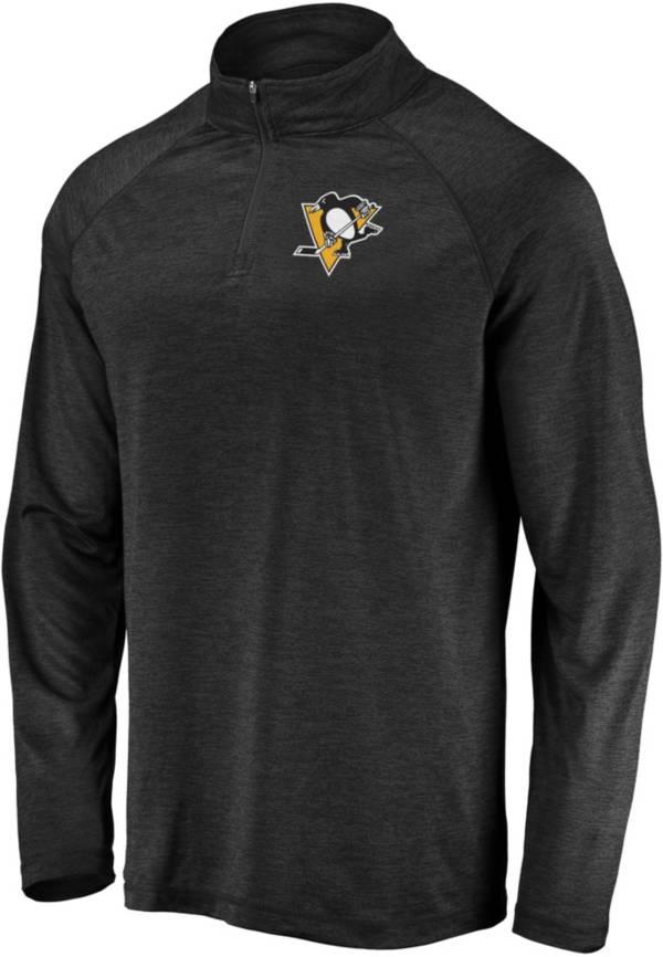 NHL Men's Pittsburgh Penguins Logo Black Heathered Quarter-Zip Pullover product image
