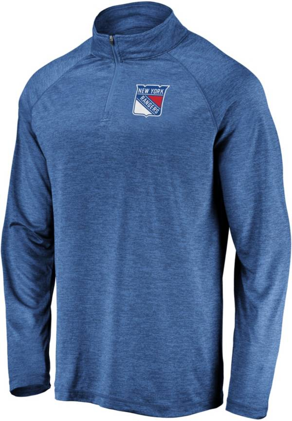 NHL Men's New York Rangers Logo Royal Heathered Quarter-Zip Pullover product image