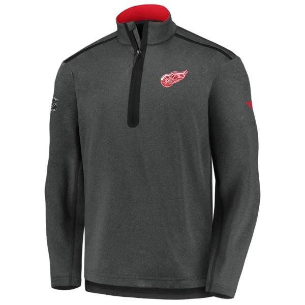 NHL Men's Detroit Red Wings Authentic Pro Gray Quarter-Zip Pullover product image