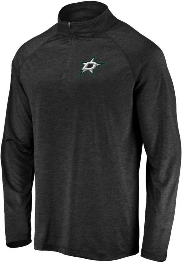 NHL Men's Dallas Stars Logo Black Heathered Quarter-Zip Pullover product image