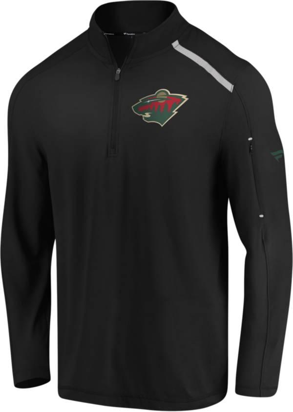 NHL Men's Minnesota Wild Authentic Pro Clutch Black Quarter-Zip Pullover product image