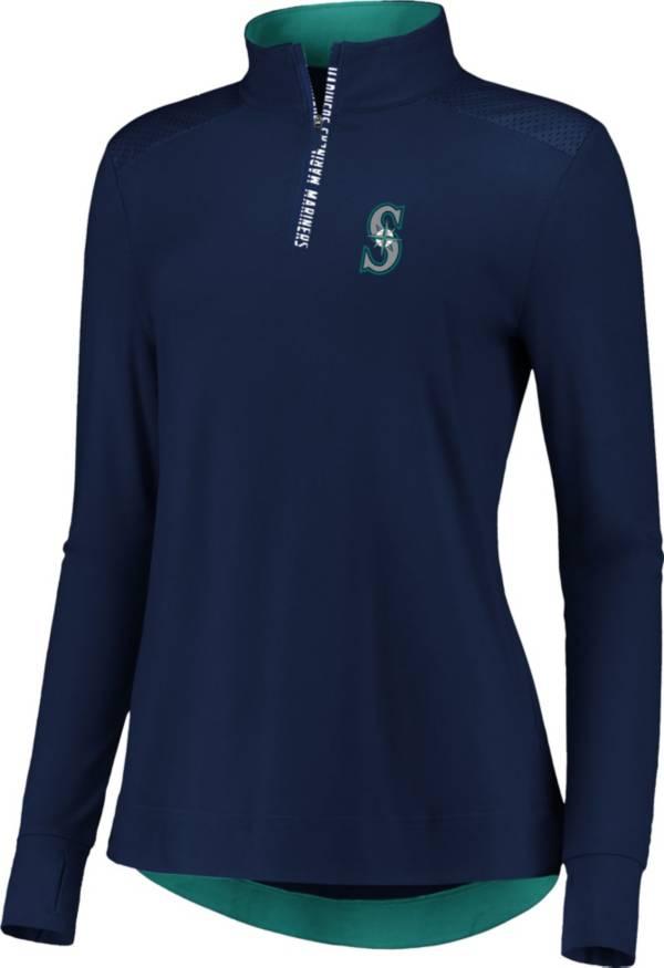 Fanatics Women's Seattle Mariners Navy Iconic Long Sleeve Quarter-Zip Shirt product image