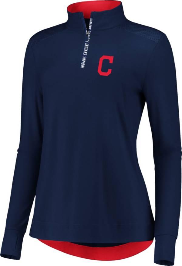 Fanatics Women's Cleveland Indians Navy Iconic Long Sleeve Quarter-Zip Shirt product image