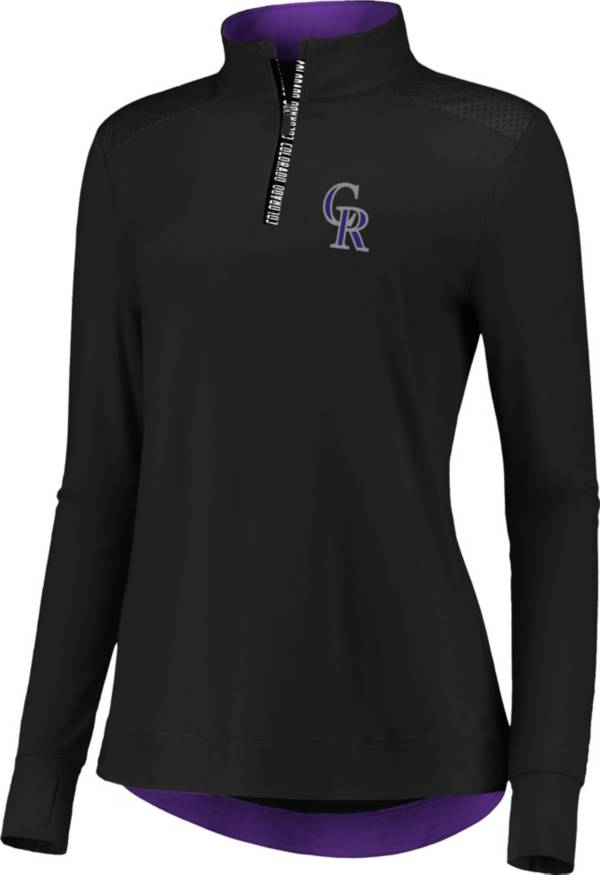 Fanatics Women's Colorado Rockies Black Iconic Long Sleeve Quarter-Zip Shirt product image