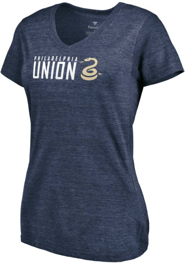MLS Women's Philadelphia Union Wordmark Tri-Blend Navy V-Neck T-Shirt product image