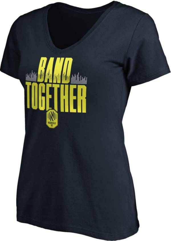MLS Women's Nashville SC Band Together Navy V-Neck T-Shirt product image