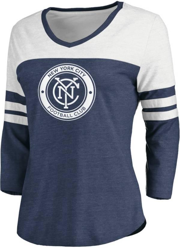 MLS Women's New York City FC Navy Three-Quarter Sleeve T-Shirt product image