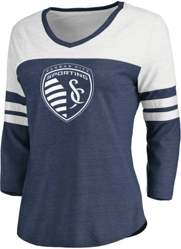 MLS Women's Sporting Kansas City Navy Three-Quarter Sleeve T-Shirt product image