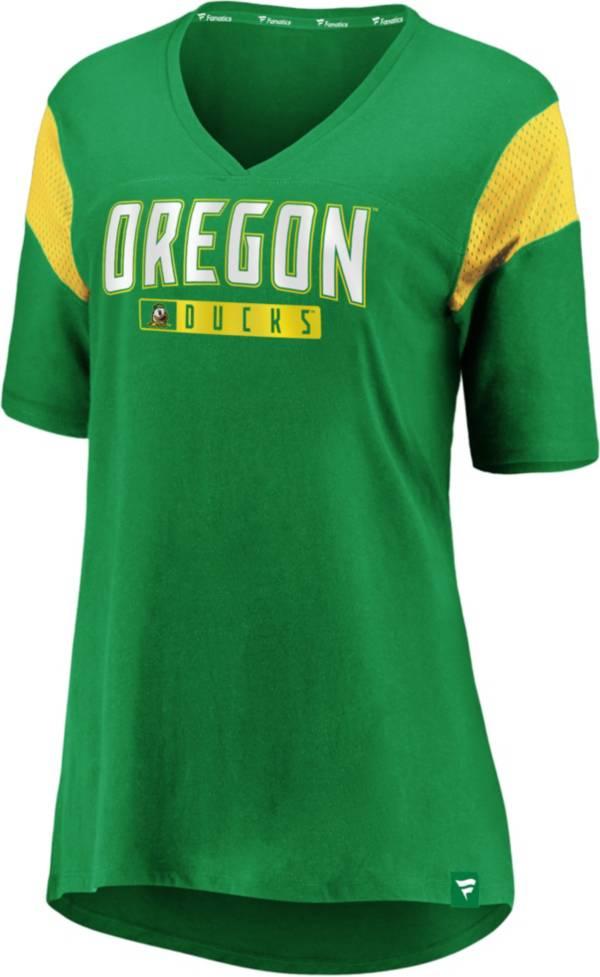 NCAA Women's Oregon Ducks Green Iconic Mesh V-Neck T-Shirt product image