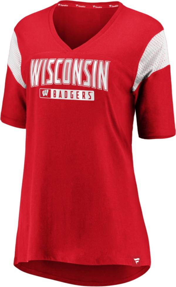 NCAA Women's Wisconsin Badgers Red Iconic Mesh V-Neck T-Shirt product image
