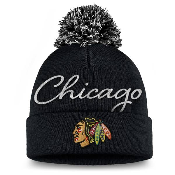 NHL Women's Chicago Blackhawks Exclusive Black Pom Knit Beanie product image