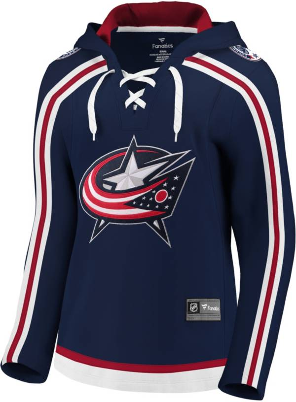 NHL Women's Columbus Blue Jackets Lace Up White Pullover Hoodie product image
