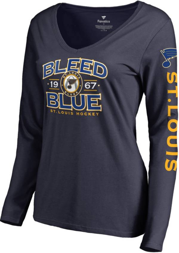 NHL Women's St. Louis Blues Bleed Blue Navy V-Neck Long Sleeve Shirt product image