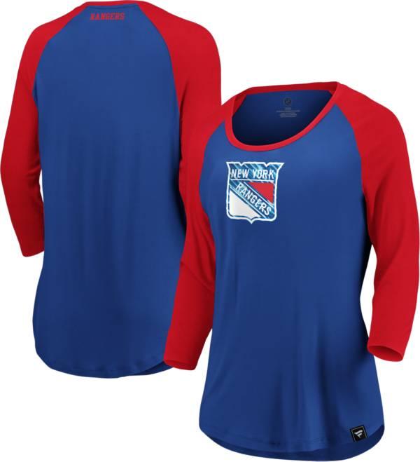 NHL Women's New York Rangers Shine Royal Three-Quarter Sleeve Shirt product image