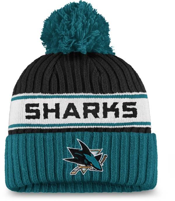 NHL Women's San Jose Sharks Authentic Pro Black Pom Knit Beanie product image