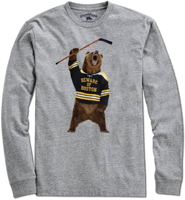 Chowdaheadz Men's Beware Of Boston Heather Grey Long Sleeve T-Shirt product image