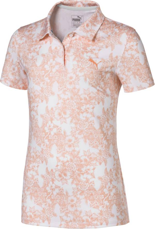 PUMA Girls' Floral Short Sleeve Golf Polo product image