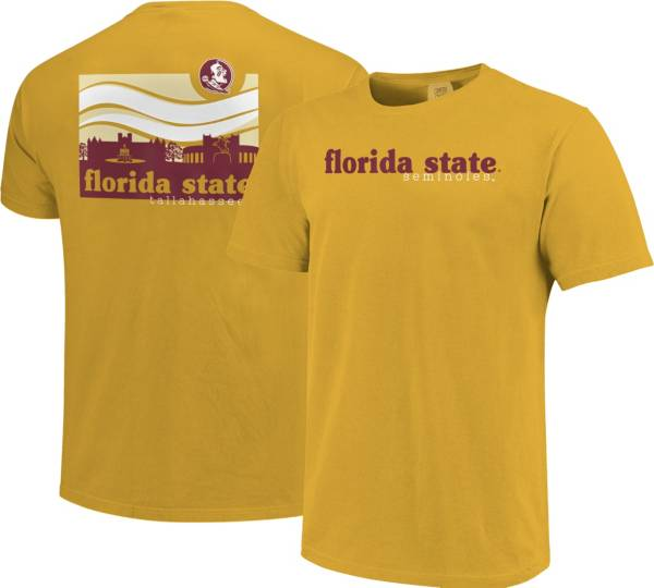 Image One Men's Florida State Seminoles Gold Campus Scene Waves T-Shirt product image