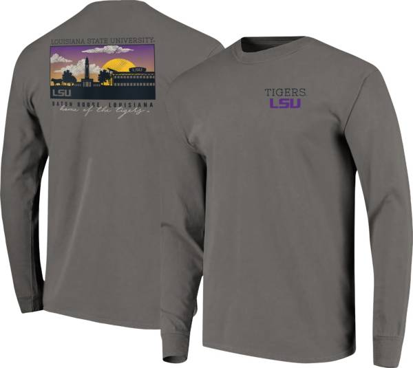 Image One Men's LSU Tigers Grey Campus Scene Long Sleeve T-Shirt product image