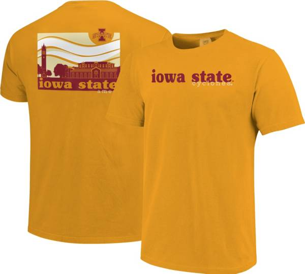 Image One Men's Iowa State Cyclones Gold Campus Scene Waves T-Shirt product image